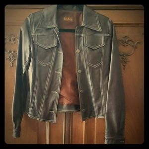 "Brown ""K"" leather jacket"